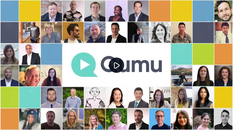 A video thumbnail made up of headshots and the Qumu logo.